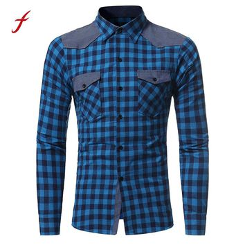 Men's Autumn And Winter shirt Fashion Long sleeved Plaid Slim Sexy Tees shirt for men 2017 mens Japanese pop Style shirt Tops