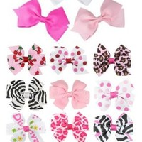 """HipGirl Boutique Girls Small Pinwheel Hair Bows-12pc 3"""" Printed Everyday Clips--Color Might Vary"""