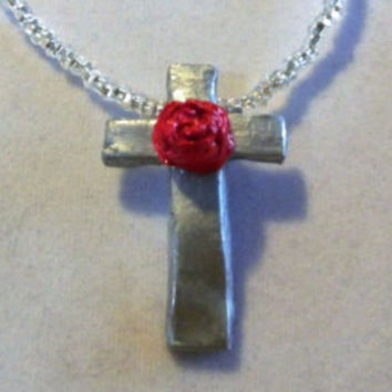 Silver Cross WIth Rose Necklace, Holy, Rosery, Shiny, Shining, ooak, Crucifix, Rosary, Catholic Christian Unique Jewelry Jewellery Clay grey