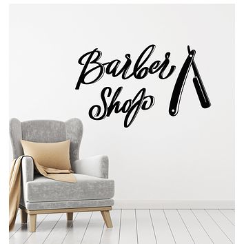 Vinyl Wall Decal Barber Shop Shaving Haircuts Man's Hair Style Stickers Mural (g2743)