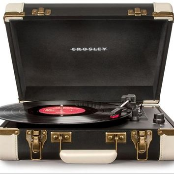 Crosley Executive Retro Portable USB Turntable CR6019A-BK - Plays Records and Converts Records to Digital - Black & White