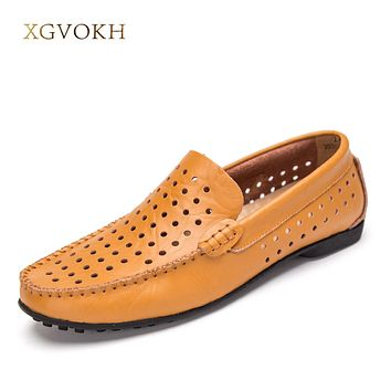 New Men Genuine Leather Breathable boat shoes Fashion Men Casual Shoes Cowhide Driving Slip On Man Flats