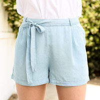 Chambray Tie Shorts - Light