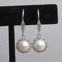 Vintage Sterling Silver, Cultured Pearl & Rhinestone Dangle Pierced Earrings
