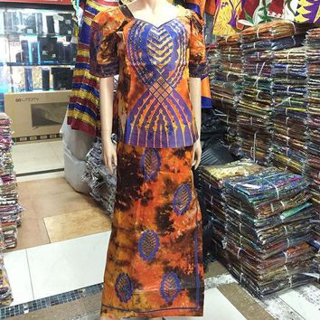 2016 African Lady New Style Women Riche Bazin Print  Dress Embroidery Dashiki Half Sleeves Design With Gele Colorful M2354 1