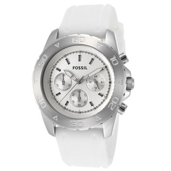Fossil Men Chronograph White Rubber Quartz  Men Watch BQ1179