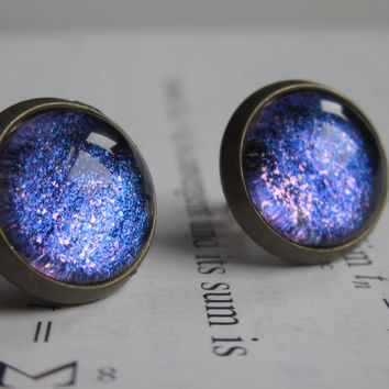 ATLAS - Earring studs - science jewelry - science earrings - galaxy jewelry - physics earrings - fake plugs - plug earring - nebula stud