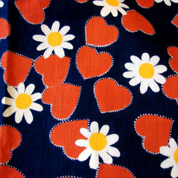 Vintage 1960s Daisies and Hearts Fabric Mod Flower Power Red Hearts White Daisy on Navy Blue Remnant