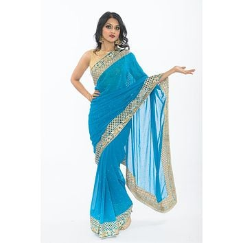 Hollywood Bound Teal Ready-Made Pre-Pleated Party wear Sari