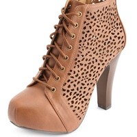 LASER CUT-OUT LACE-UP PLATFORM BOOTIES