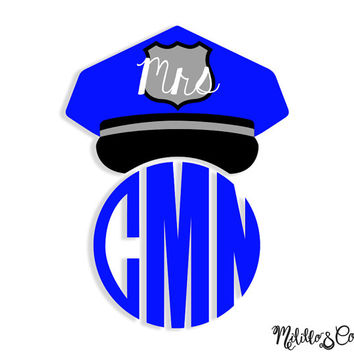 Thin Blue Line Police Wife Mrs. Police Hat and Monogram Car Decal Sticker - Custom Monogram
