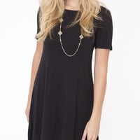 Short Sleeve Solid Flare Dress in Black