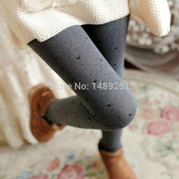 DCCKH6B Winter Leggings Dots Wave Point Double Thick Mud Sesame Clover Leggings Warm Women Casual Leggins