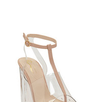 Clear T Strap Chunky High Heel Sandal - Rainbow