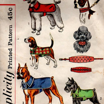 Retro 1960s Simplicity 4219 Sewing Pattern Dog Puppy Coat Collar Size Large and Small Canine Fashion Uncut