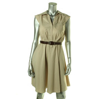 Adrianna Papell Womens Collared Cap Sleeves Casual Dress