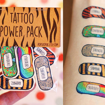 Power Pack Animal Traits Temporary Tattoos ~ Encouragement, Courage, Confidence, Inspiration & Motivation ~ Band-Aid Motivational Quotes