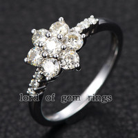 Moissanite Engagement Ring 14K White Gold 3mm & 1.5mm Round  Snow Flower Snowflake