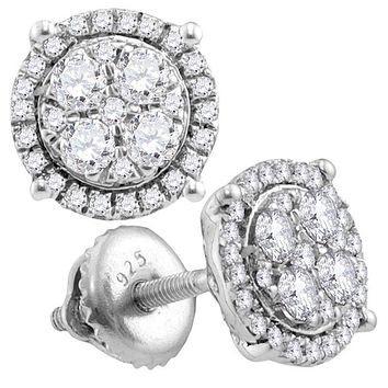 10kt White Gold Women's Round Diamond Circle Cluster Earrings 3-4 Cttw - FREE Shipping (US/CAN)