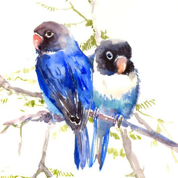 Lovebirds painting, blue, bird painting, two birds, originalw atercolor 12 x 9 in