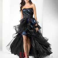 A-Line Strapless Organza Black Long Prom Dress/Evening Gowns With Ruffles VTC694
