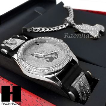 MEN ICED OUT PRAYING HANDS WATCH & PENDANT CUBAN CHAIN NECKLACE GIFT SET SS81