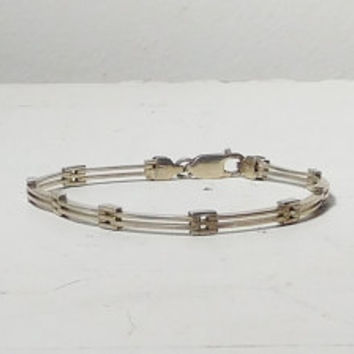 Sterling Silver 925 Bracelet Cuff Panel Link Bracelet from Italy Vintage Thin Slightly Domed Signed Stamped 8 Inches Long