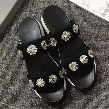 Day-First™ DIOR Beads embroidery Thick rubber slippers Flip flop shoes black H-ALXY JL