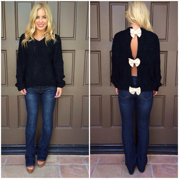 Bow Trifecta Knit Sweater - BLACK