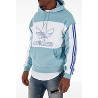 Adidas Men's Originals Spirit Outline Block Ash Grey White Hoodie DY6649