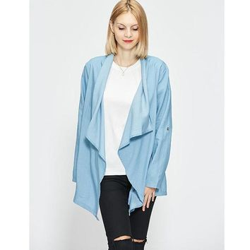 Autumn New Arrival Trench Coat Women Open Collar Blue Casual Coat Long Outwears