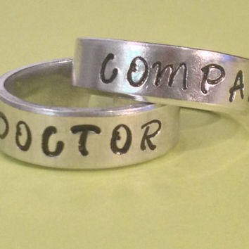 Doctor Companion - Doctor Who Inspired - Aluminium Cuff  Rings Set - Best Friends / Couple - Hand Stamped