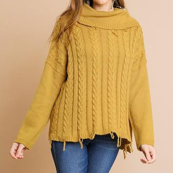 Long Sleeve Cable Knit Turtle Neck Pullover Sweater