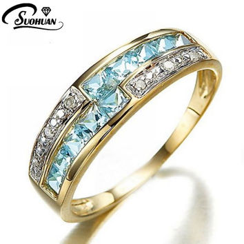 Size 6,7,8,9,10 New Jewelry Fashion Woman's Rare Blue Aquamarine Cz 18K Yelow Gold Filled Anniversary Ring Gift  Free Shipping