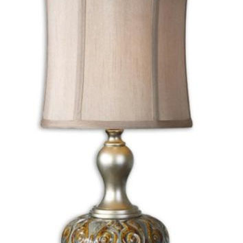 Buffet Table Lamp - Aged Ceramic Body With Complex Wash, Silver Details With Antiqued Effect And Bronze Foot