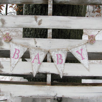 Shabby Chic Baby Burlap Banner, Gender Reveal Banner, Baby Photo Prop, Rustic Baby Decor