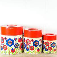 Vintage Metal Canister Set // Red and Blue Floral Tins