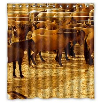 Retro Stud Horses Custom Made Personalized Waterproof Shower Curtain Bathroom Products Curtains Size 48x72,60x72,66x72 Inches