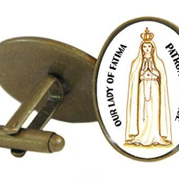 Our Lady of Fatima Patron of Peace  Oval Antique Bronze Gold Pair of Cuff Links