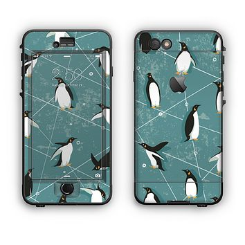The Vintage Penguin Blue Collage Apple iPhone 6 LifeProof Nuud Case Skin Set