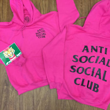 AntiSocial Social Club Hoodie in Heliconia CALM HOODY / ASSC / Kanye West Anti Social Cash Me Outside anti social club concert