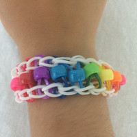 Single Bead Bracelet Rainbow Loom Handmade Rubber Band Pink Blue Purple Yellow Orange Red Green