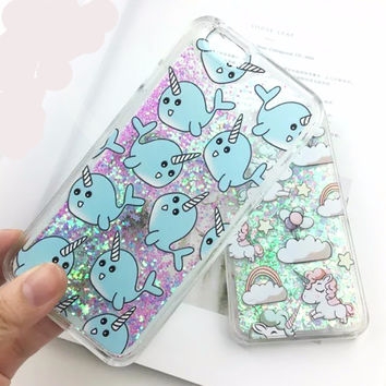 Cute Cartoon Unicorn Narwhal and Unicorn Pony Case For iPhone