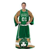 Boston Celtics NBA Adult Uniform Comfy Throw Blanket w- Sleeves