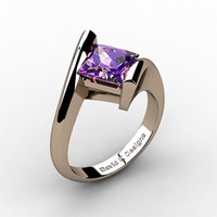 Modern 14K Rose Gold 2.0 Ct Princess Square Amethyst Kite Setting Engagement Ring R1031-14KRGAM