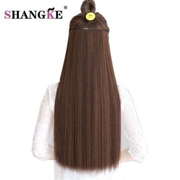 CREY78W SHANGKE Hair 24'' Long Straight Hair Extensions 5 Clips in Fake Hair Extension Heat Resistant Synthetic Fake Hairpiece Hairstyle