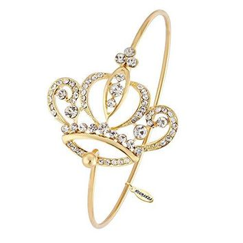 NOUMANDA New Fashion Imperial Crystal Crown Bangle Bracelet for women