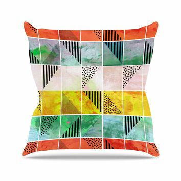 """bruxamagica """"Tartan Coral Gold Green"""" Gold Coral Abstract Pattern Digital Vector Throw Pillow"""