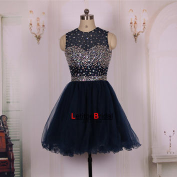 2015 Cheap Ball Gown Princess Sweetheart Crystals Beaded Navy Blue Tulle Short Prom Dresses Gown/Homecoming Dress/Party Dress/Formal Dress
