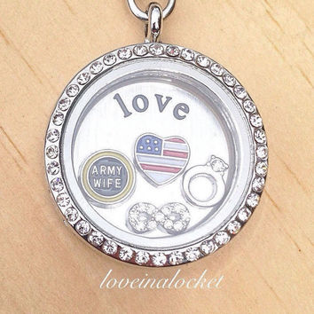 Army Wife Locket, Army Wife Necklace, Army Wife Jewelry, Army Wife Gift, Wedding Ring Locket, Love Locket, Wife Necklace, Infinity Locket